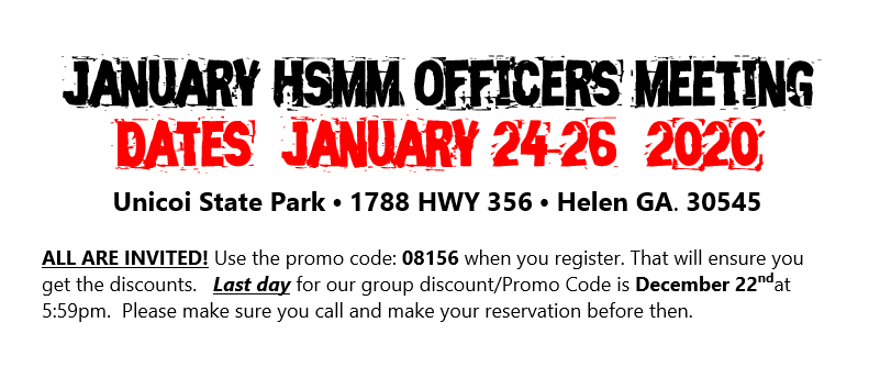 The HSMM Officers Meeting will be January 24-26, 2020.